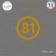 Sticker Département 81 Tarn Languedoc Roussillon Midi Pyrénées Albi Sticks-em.fr Couleurs au choix