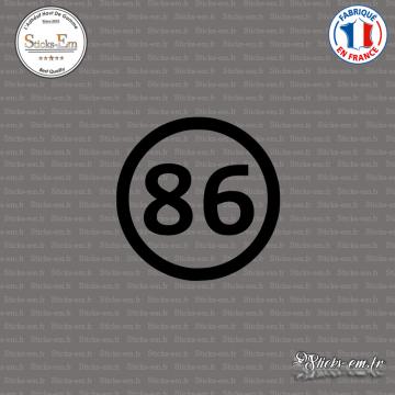 Sticker Département 86 Vienne Aquitaine Limousin Poitou Charentes Poitiers
