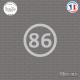 Sticker Département 86 Vienne Aquitaine Limousin Poitou Charentes Poitiers Sticks-em.fr Couleurs au choix