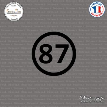 Sticker Département 87 Haute Vienne Aquitaine Limousin Poitou Charentes Limoges