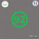 Sticker Département 92 Hauts de Seine Ile de France Nanterre Sticks-em.fr Couleurs au choix