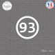 Sticker Département 93 Seine Saint Denis Ile de France Bobigny Sticks-em.fr Couleurs au choix