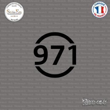 Sticker Département 971 Guadeloupe DOM Basse Terre