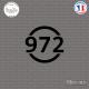 Sticker Département 972 Martinique DOM Fort de France Sticks-em.fr Couleurs au choix