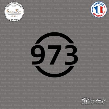 Sticker Département 973 Guyane DOM Cayenne