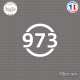 Sticker Département 973 Guyane DOM Cayenne Sticks-em.fr Couleurs au choix