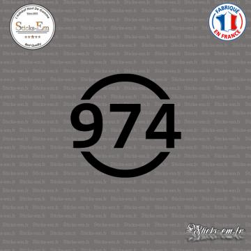 Sticker Département 974 La Réunion DOM Saint Denis