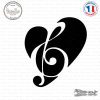 Sticker Coeur de la Musique Sticks-em.fr Couleurs au choix