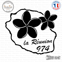 Sticker 974 La Réunion Plumeria