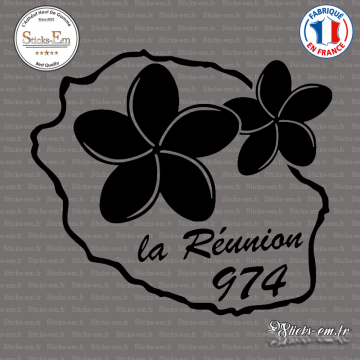 Sticker 974 La Réunion Plumeria