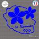 Sticker 974 La Réunion Plumeria Sticks-em.fr Couleurs au choix
