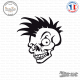 Sticker Tête de Mort Skull Punk Sticks-em.fr Couleurs au choix