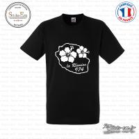 T-shirt 974 La Reunion Fleur Hibiscus Sticks-em.fr Couleurs au choix