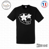 T-shirt 974 La reunion plumeria Sticks-em.fr Couleurs au choix