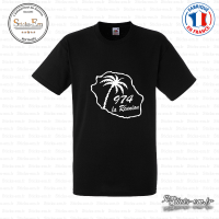 T-shirt 974 la reunion palmier Sticks-em.fr Couleurs au choix